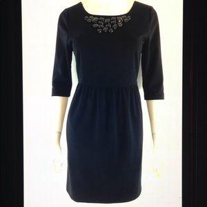 Sweet Rain Jeweled Neck 3/4 Sleeve Career Dress